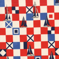 Michael Miller Fabric - Yacht Club Mariner Flags Red