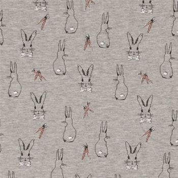 Oeko Tex Jersey Fabric - Easter Bunny Rabbits (Grey)