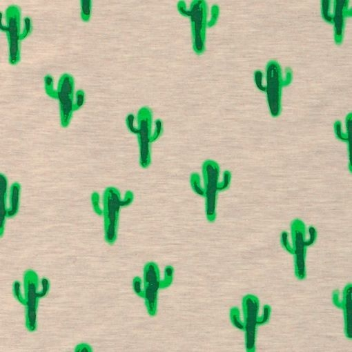 Jersey Fabric (Okeo Tex) - Cactus (Grey)