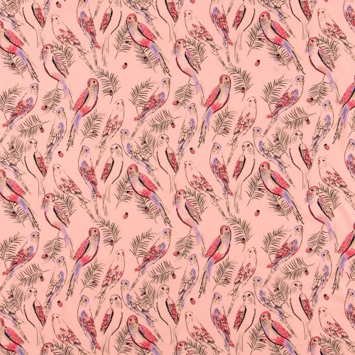 Oeko Tex Stretch Jersey Fabric - Birds And Their Feathered Friends (Pink)