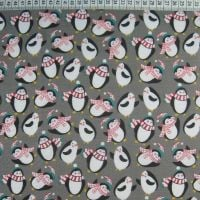 Penguins - Grey - Polycotton