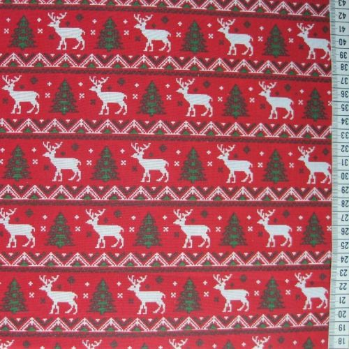 Reindeer Stripe - Red - Polycotton
