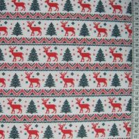Reindeer Stripe - White - Polycotton