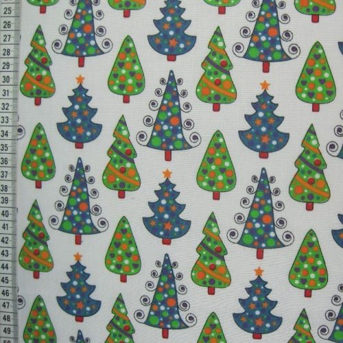 Christmas Trees - Green White - Polycotton