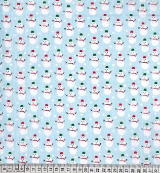 Snowmen - Blue - Polycotton