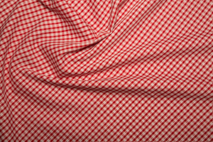 "Gingham 1/8"" Checks - Red - Polycotton"