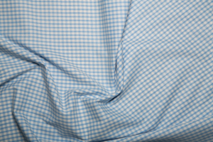 "Gingham 1/8"" Checks - Pale Blue - Polycotton"