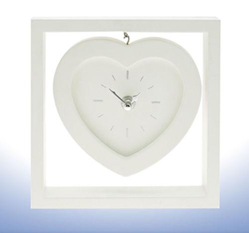 White Hanging Heart Mantel Clock