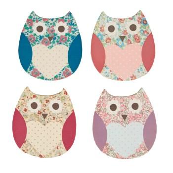 Floral Spring Owl Coaster Set