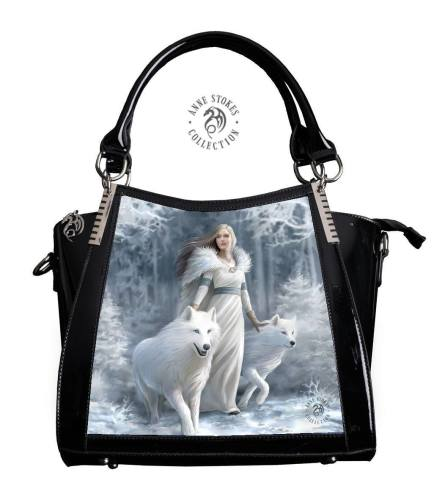 3D Lenticular Black PVC Handbag Winter Guardians - Anne Stokes