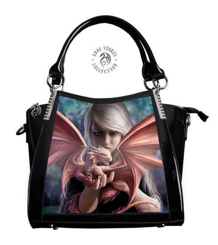 3D Lenticular Black PVC Handbag Dragonkin - Anne Stokes