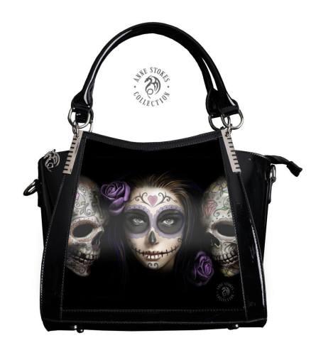 3D Lenticular Black PVC Handbag Day of the Dead - Anne Stokes