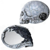 Nevermore Skull and Raven Compact Mirror