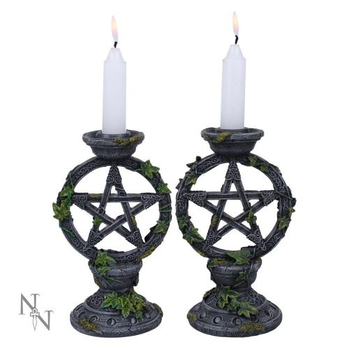 Wiccan Pentagram Candlesticks (set of 2)