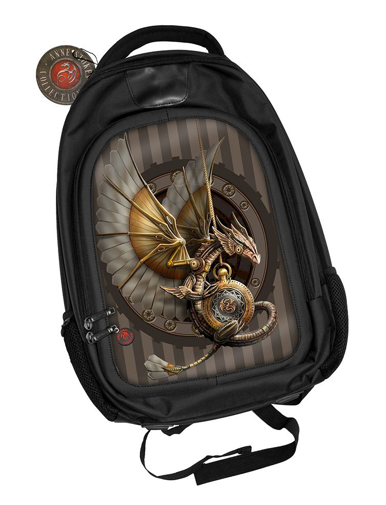 3D Black Oxford Polyester Backpack - Clockwork Dragon - Anne Stokes