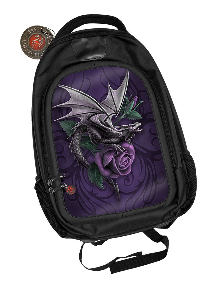 3D Black Oxford Polyester Backpack - Dragon Beauty - Anne Stokes
