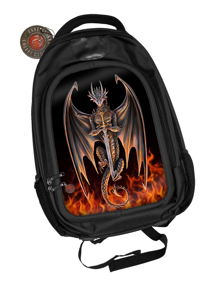 3D Black Oxford Polyester Backpack - Dragon Warrior - Anne Stokes