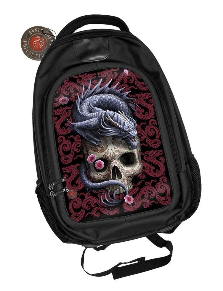3D Black Oxford Polyester Backpack - Oriental Dragon - Anne Stokes