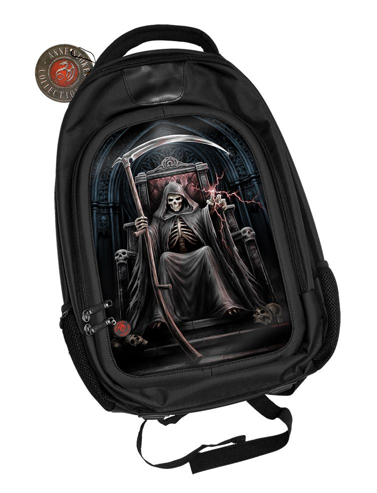 3D Black Oxford Polyester Backpack - Time Waits for No Man - Anne Stokes