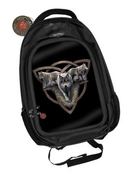 3D Black Oxford Polyester Backpack - Wolf Trio - Anne Stokes
