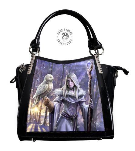 3D Lenticular Black PVC Handbag Winter Owl - Anne Stokes