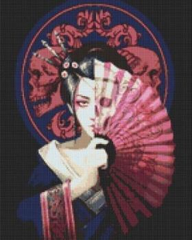 Large Geisha Skull Cross Stitch Kit - Limited Edition