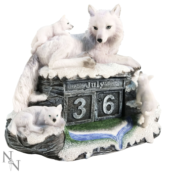 Mother's Watch ~ Wolf Perpetual Block Calendar - Nemesis Now