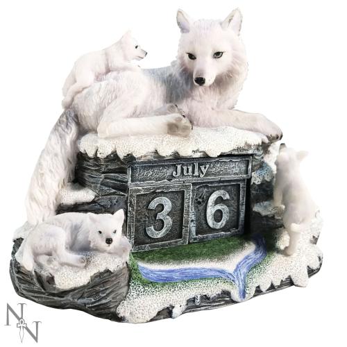 Mother's Watch ~ Wolf Perpetual Block Calendar - Nemesis Now