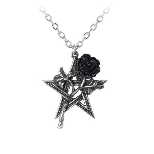 Ruah Vered - Black Rose Pentagram Pendant Necklace