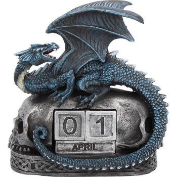 Year Keeper - Dragon and Skull Perpetual Block Calendar Figurine