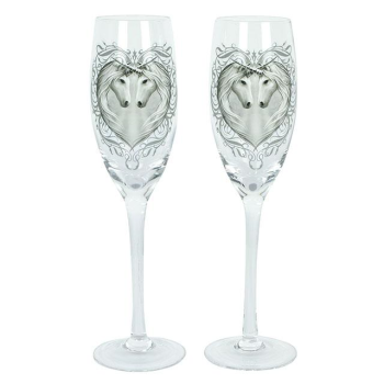Pair of Unicorn Heart Champagne Glasses - Anne Stokes