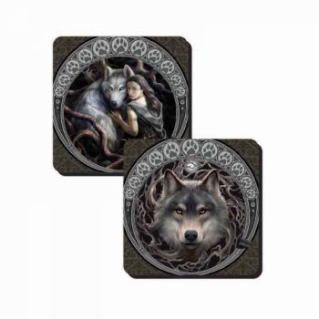 Set of 2 Wolf Coasters - Night Forest and Soul Bond - Anne Stokes