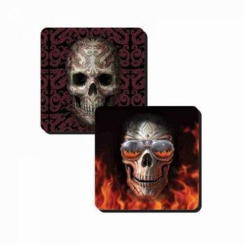 Set of 2 Skull Coasters - Hellfire and Oriental Skull - Anne Stokes