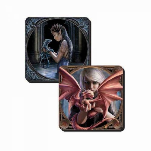Set of 2 Dragon Coasters - Dragonkin and Water Dragon - Anne Stokes