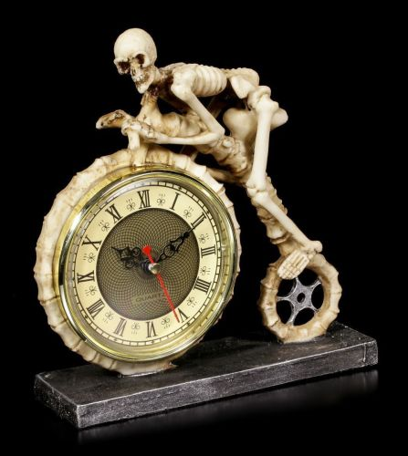 Wheels of Time - Skeleton Pennyfarthing Clock - Nemesis Now