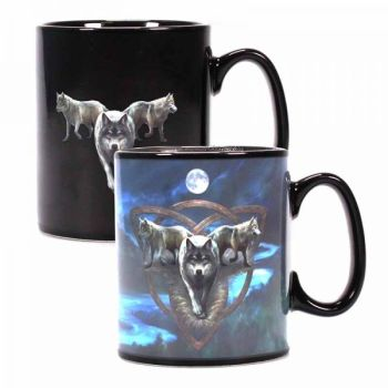 Heat Changing Mug - Wolf Trio - Anne Stokes  - Boxless