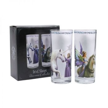 Set of 2 Unicorn Tumbler Glasses - Pure Magic and Realm of Enchantment - Anne Stokes