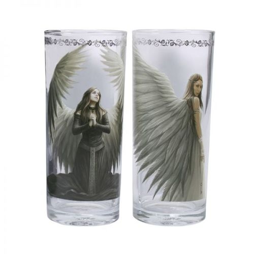 Set of 2 Angel Tumbler Glasses - Spirit Guide and Prayer for the Fallen - A