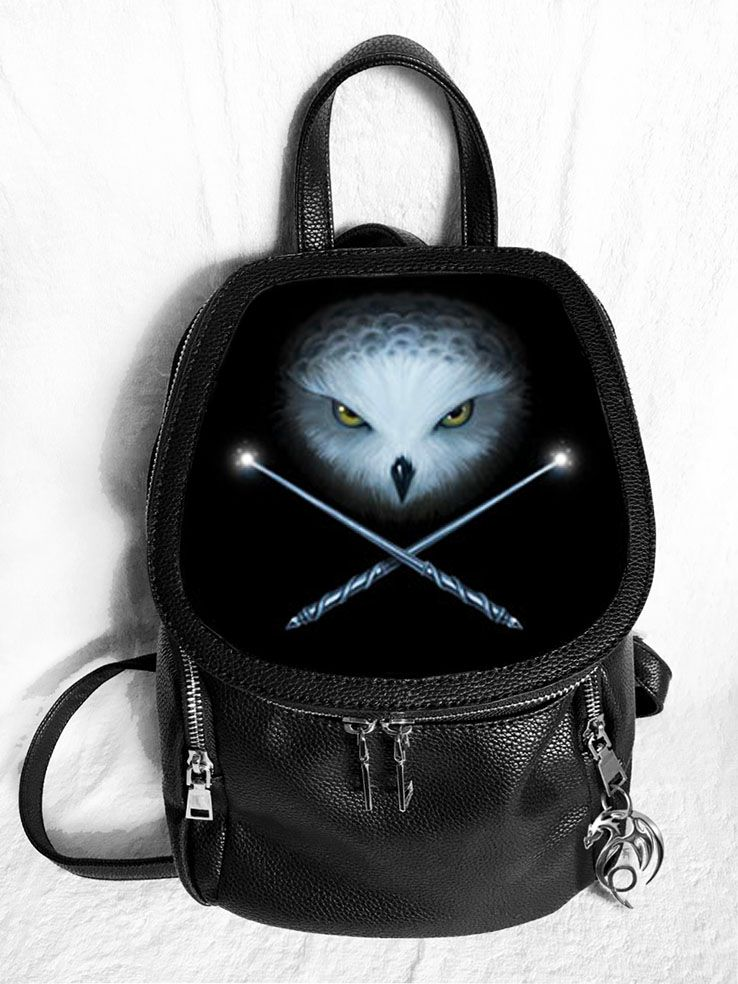 Owl and Crossed Wands 3D Fashion Backpack - Anne Stokes