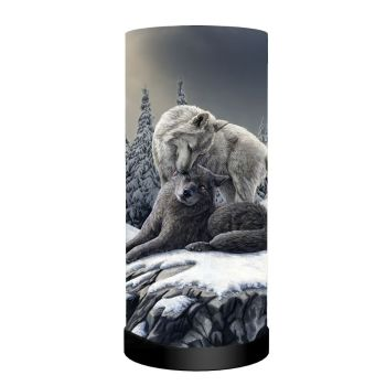 Snow Kisses Wolf Lamp - Lisa Parker