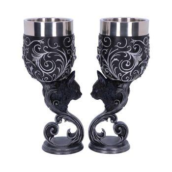 Familiars Love - Pair of Black Cat Goblets