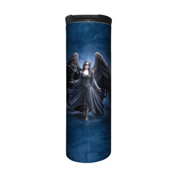 Anne Stokes Barista Style Stainless Steel Thermos Flask - Raven - Gothic Angel