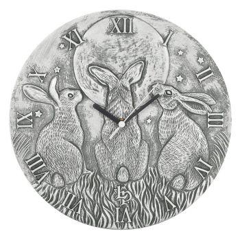 Stunning Lisa Parker Wall Clock - Moon Shadows - Silver Effect Terracotta