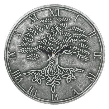 Stunning Lisa Parker Wall Clock - Tree of Life - Silver Effect Terracotta