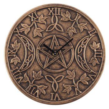 Stunning Lisa Parker Wall Clock - Triple Moon - Bronze Effect Terracotta