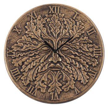 Stunning Lisa Parker Wall Clock - Green Man - Bronze Effect Terracotta