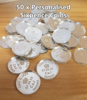 50 x Sixpence Mirror Acrylic Coins