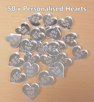 50 x Personalised Hearts