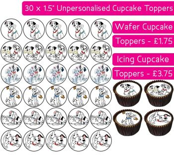 101 Dalmatians - 30 Cupcake Toppers
