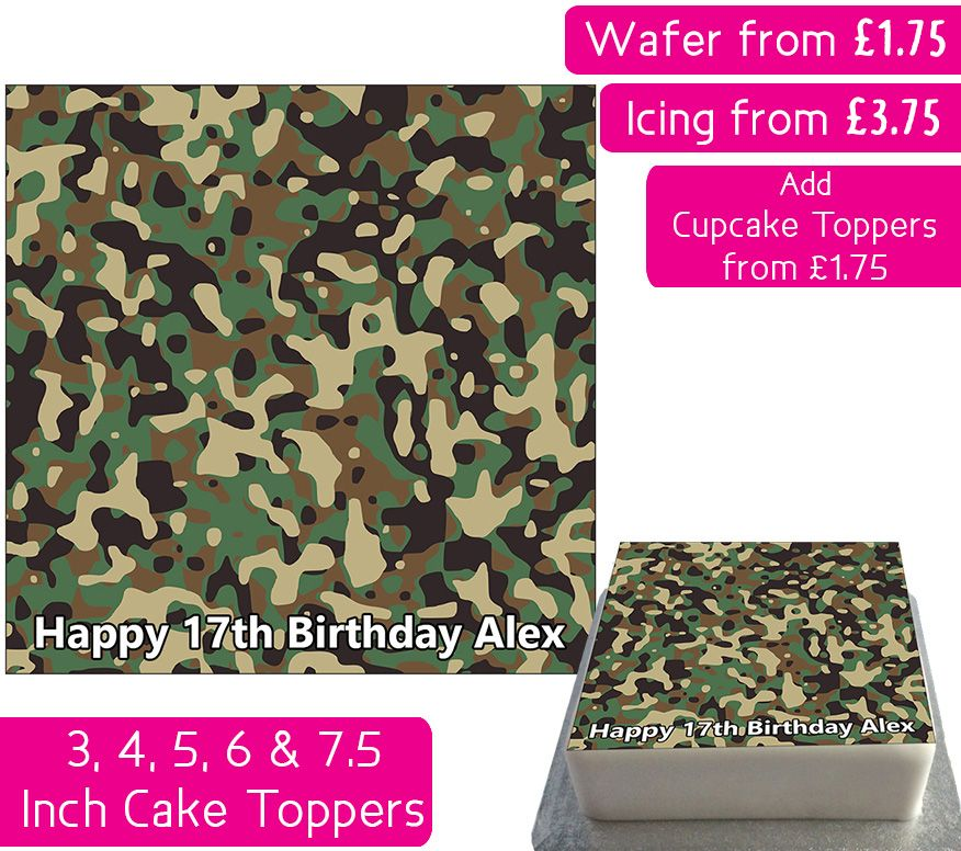 Camouflage Print Square Personalised Cake Topper